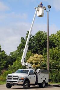 Bucket Truck for Parking Area Lighting